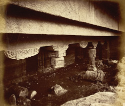 General view from the left of porch and entrance to Buddhist Vihara, Cave XXIV, Ajanta
